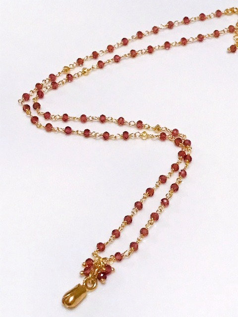 Pink Tourmaline with Gold Accent Necklace