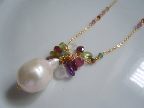 Baroque Pearl with Gemstones