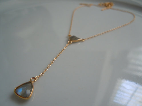 Faceted Labradorite Lariet-Style Necklace