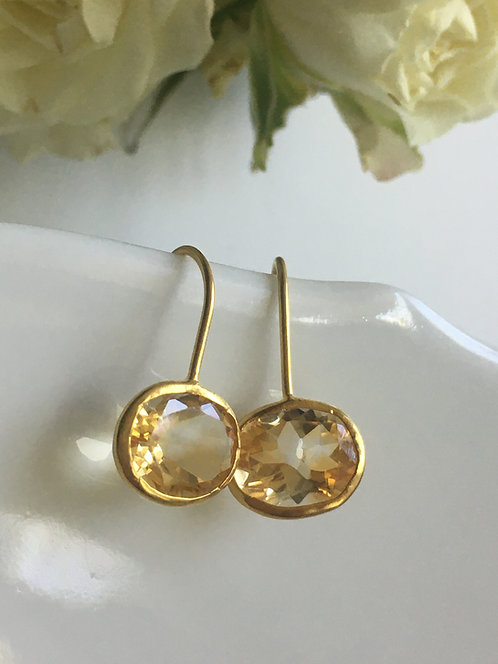 Faceted Citrine Earrings in Hammered Gold Vermeil