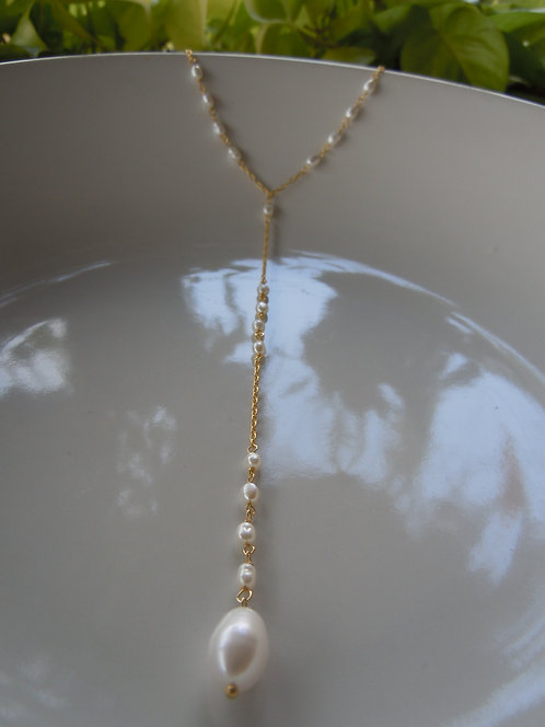 Freshwater Seed Pearl Lariet-style Necklace