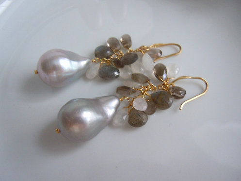 Baroque Pearl Earrings with Gemstone Cluster