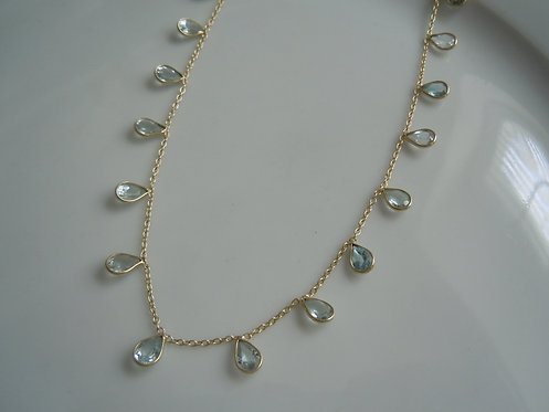 Aquamarine Teardrop Necklace