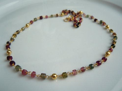 Tourmaline and 14kt Gold Vermeil Necklace