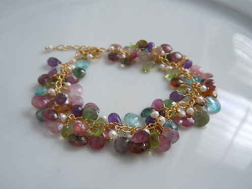 Faceted Gemstone and Seed Pearl Bracelet