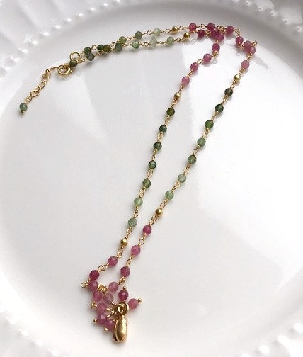 Tourmaline with Gold Accent Necklace