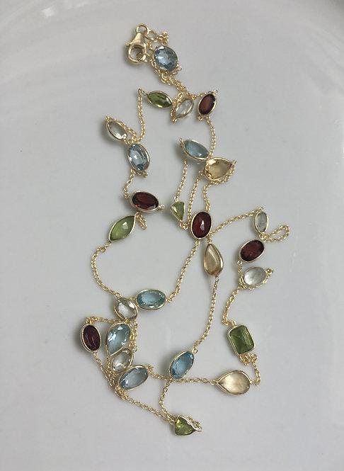 Multiple Bezel Set Gemstone Long Necklace