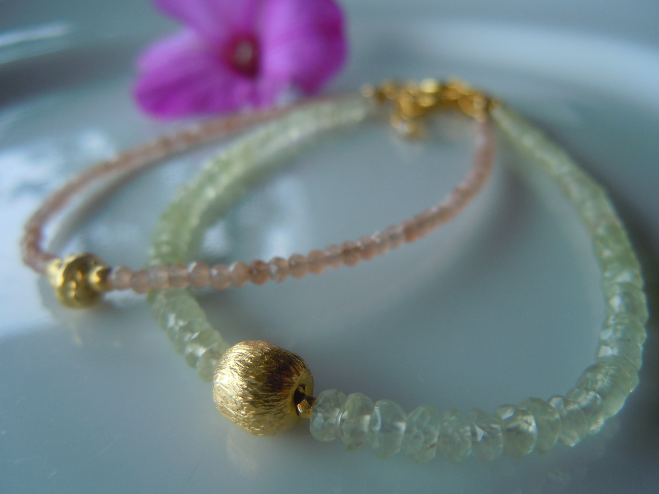 Faceted Gemstone Bracelets with Gold Accent