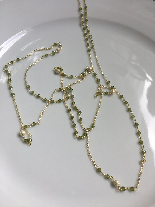 Peridot and 14kt Gold Vermeil Long Necklace