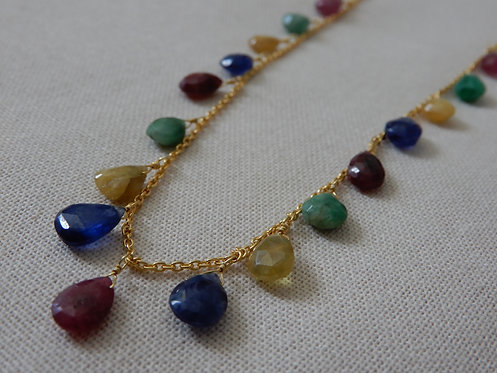Multi Sapphire Necklace Faceted Tourmaline, Ruby, Emerald, Blue Sapphire