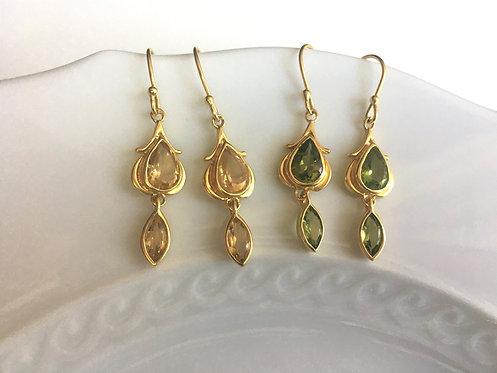 Citrine and Peridot Gemstone Earrings