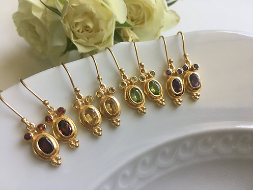 Handcrafted Gemstone Earrings in Ornate 14 kt Gold Setting