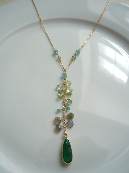 Faceted Green Onyx Centerpiece with Gemstone Accents
