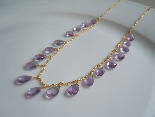 Faceted Amethyst Gemstone Necklace