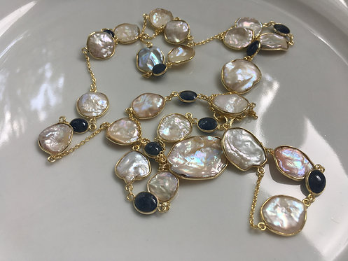 Sapphire with Freshwater Pearls Long Necklace