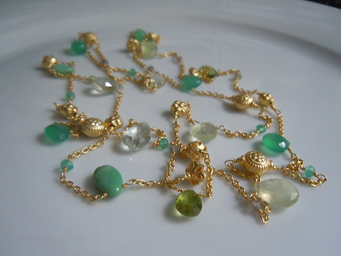 Long Green Toned Gemstone Necklace