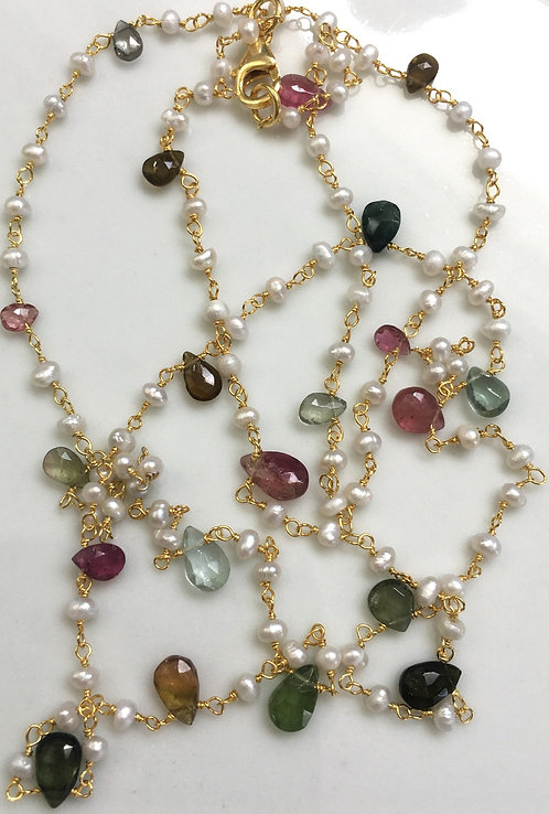 Tourmaline Teardrops with Freshwater Seed Pearls