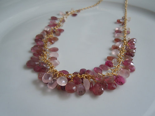 Faceted Ruby, Pink Tourmaline, and Rose Quartz Necklace