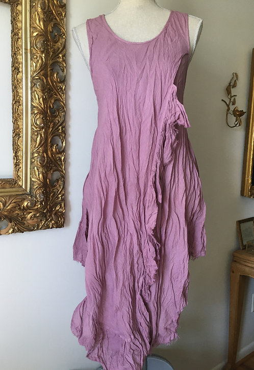 Dusty Mauve Bias Side Ruffle Dress