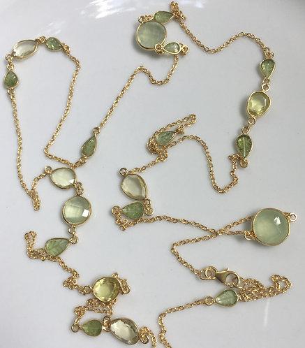 Bezel Set Prehnite and Peridot Long Necklace