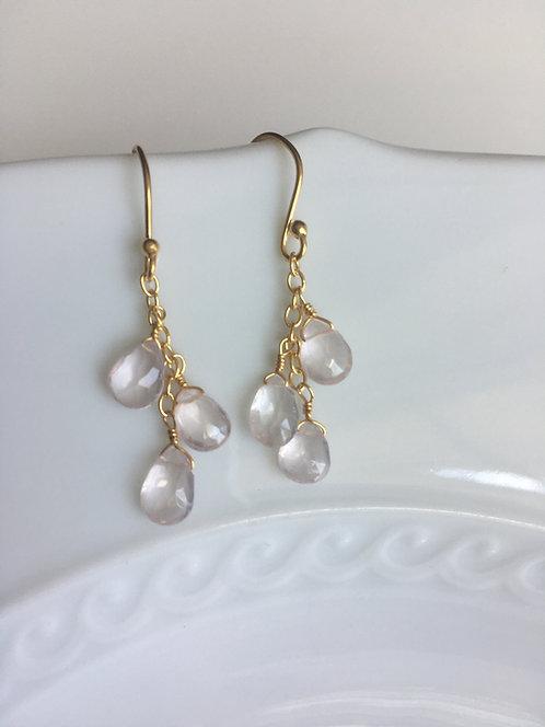 Rose Quartz Medley Teardrop Earrings