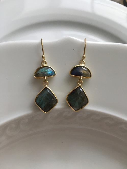 Double Tier Labradorite Earrings