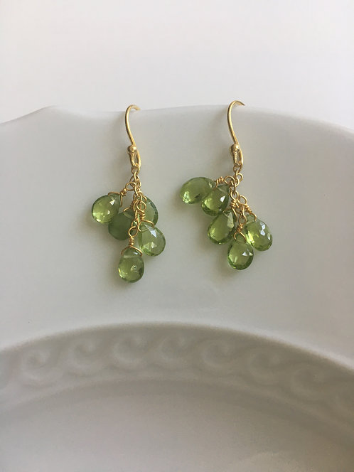 Peridot Cluster Drop Earrings