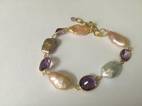 Baroque Pearls with Bezel Amethyst Gemstone Bracelet