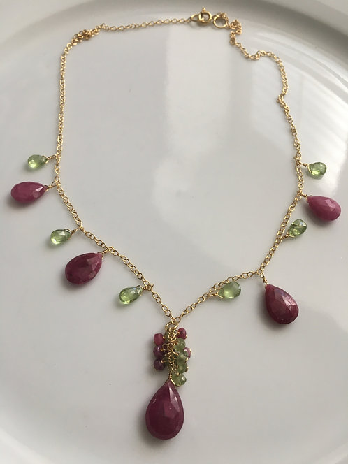 Faceted Ruby and Peridot Necklace