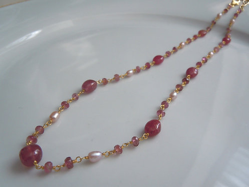 Natural Ruby with Pearls and Pink Toumaline