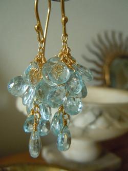 Faceted Aquamarine Teardrop Cluster Earring