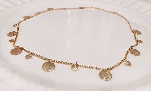 Brushed Gold Circular Accent Necklace
