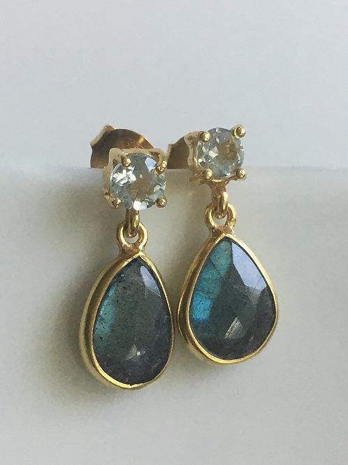 Labradorite with Green Amethyst Drop Stud Earrings