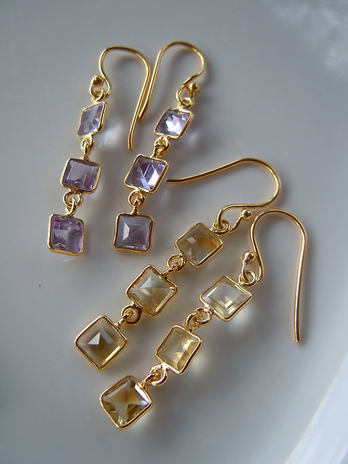 Pretty Triple Tier Square Cut Gemstone Earrings