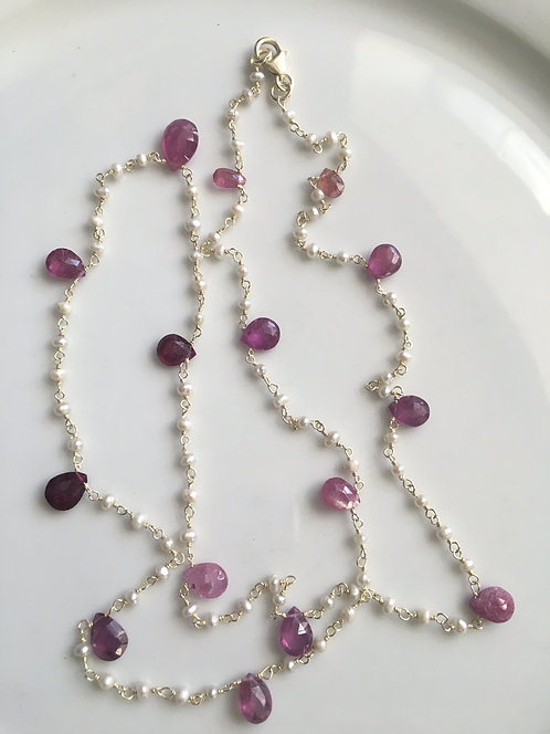 Pink Tourmaline and Freshwater Seed Pearl Necklace