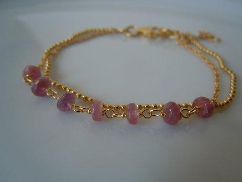 Gold Vermeil Bracelet with Pink Tourmaline