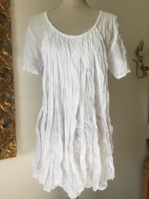 Short Sleeve Long Top with Piping