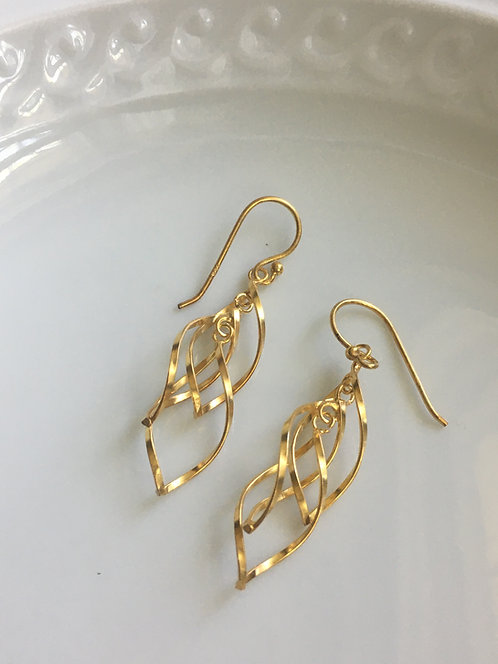 14 kt gold Vermeil Double Swirl Earrings