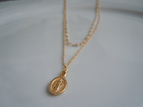 Layered Seed Pearl Necklace with Virgin Mary Pendant