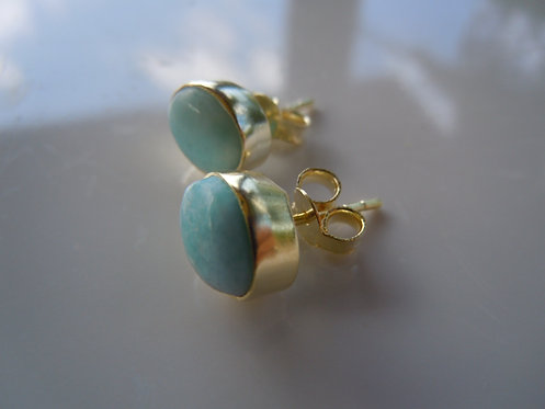 Sweet Turquoise Bezel Set Stud Earrings