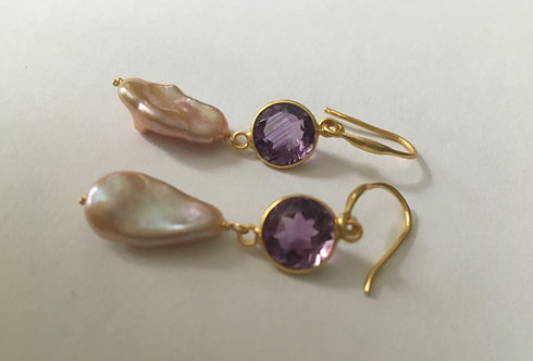 Natural River Pearl & Amethyst Bezel Earrings