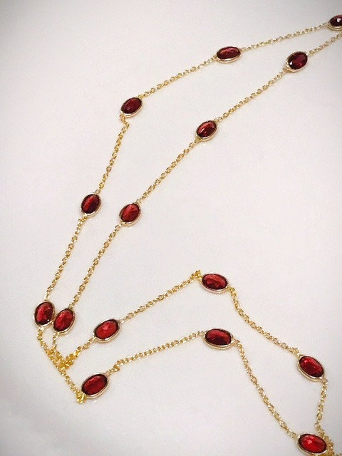 Long Garnet Bezel Set Necklace