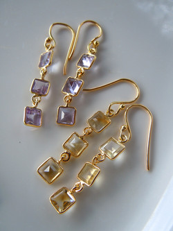 3 Tier Faceted Square-cut Gemstone Earrings