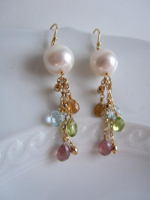 Freshwater Pearl Earrings with Gemstones