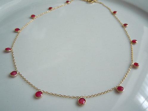 Ruby Bezel Necklace