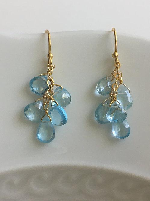 Blue Topaz Cluster Drop Earrings