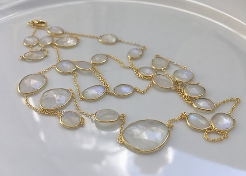 Long Faceted Moonstone Necklace