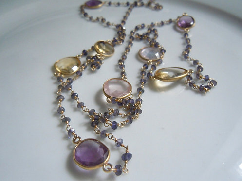 Amethyst, Rose Quartz, Citrine Long Necklace