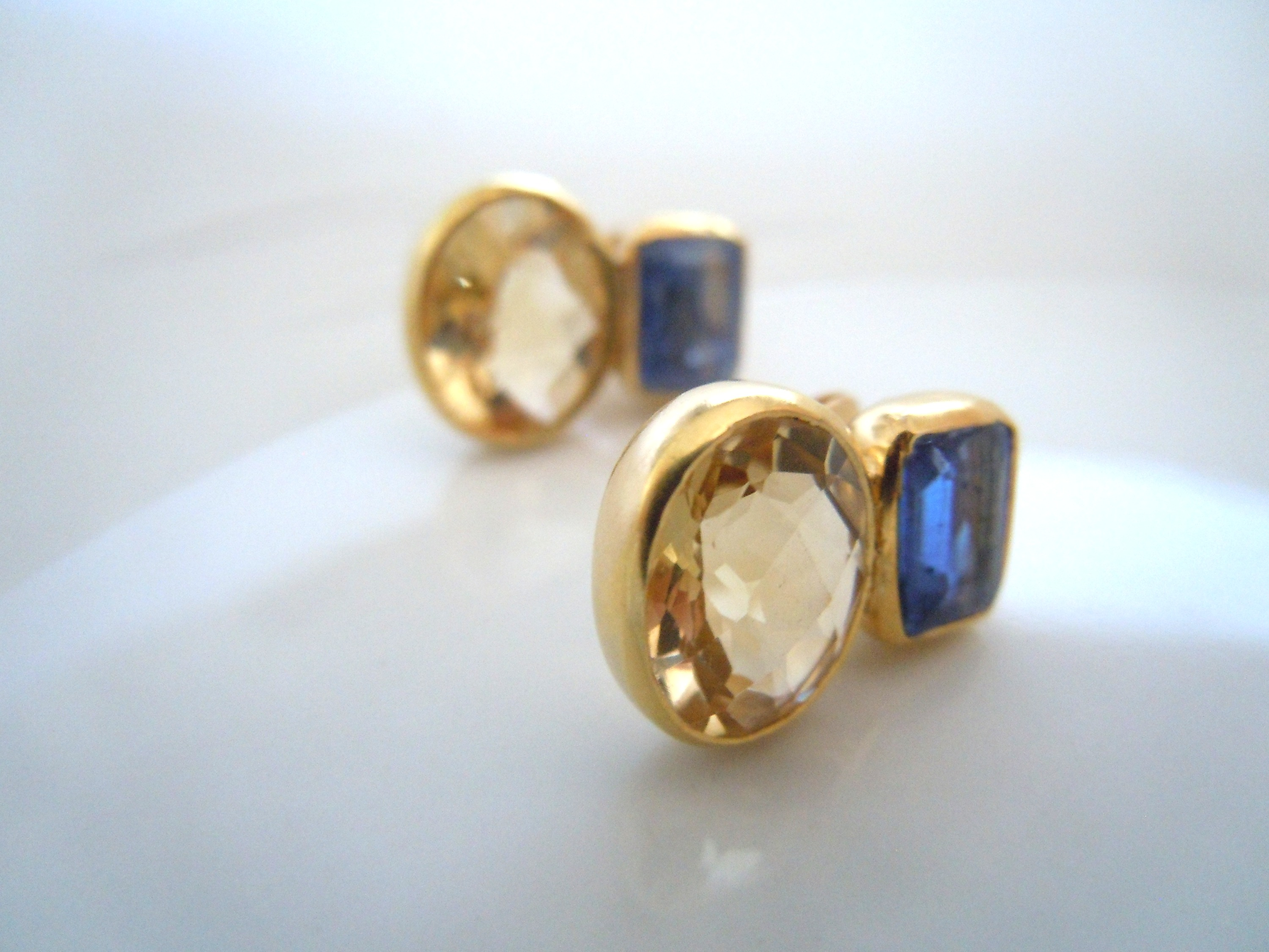 Faceted Citrine with Sapphire Accent Stud Earrings