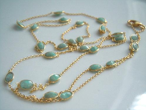 Amazonite Bezel Long Necklace